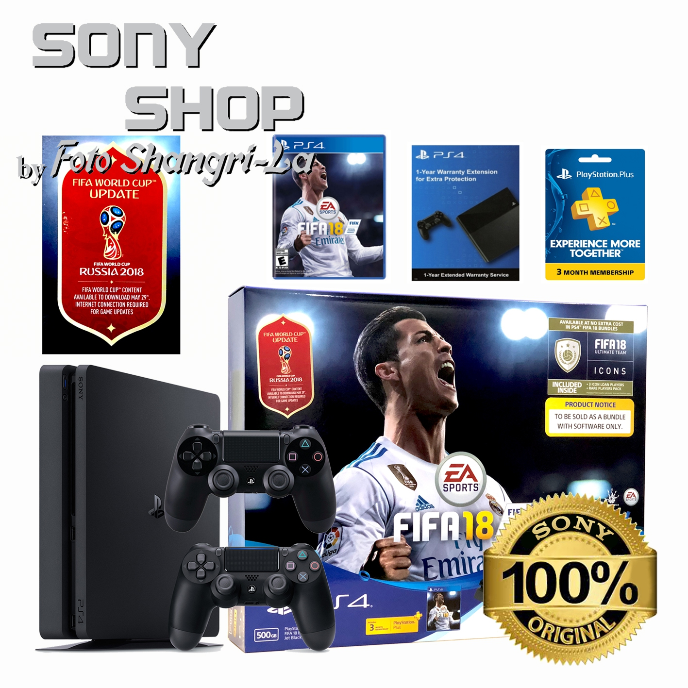 PS4 SLIM CONSOLE 500GB FIFA  '18 BUNDLE SET + 1 EXTRA CONTROLLER + 2 YEA