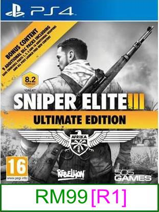 PS4 Sniper Elite III (Ultimate Edition) [R1] ★Brand New & Sealed..
