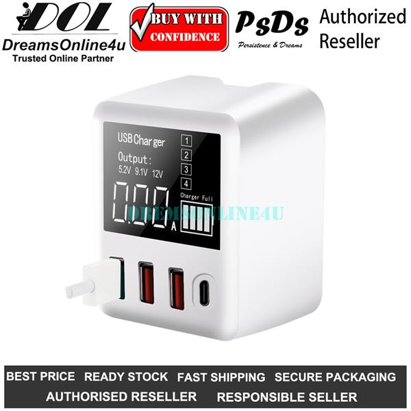 PsDs A9T 4 Port USB Type C PC Quick Charge 3.0 30 Watts Fast Charger