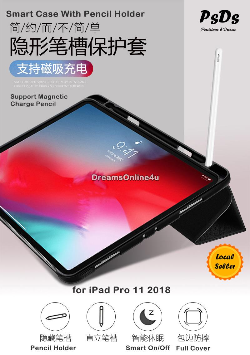 newest 1e2ae dd0d5 PsDs Smart Cover Case with Pencil Holder New iPad Pro 11 2018