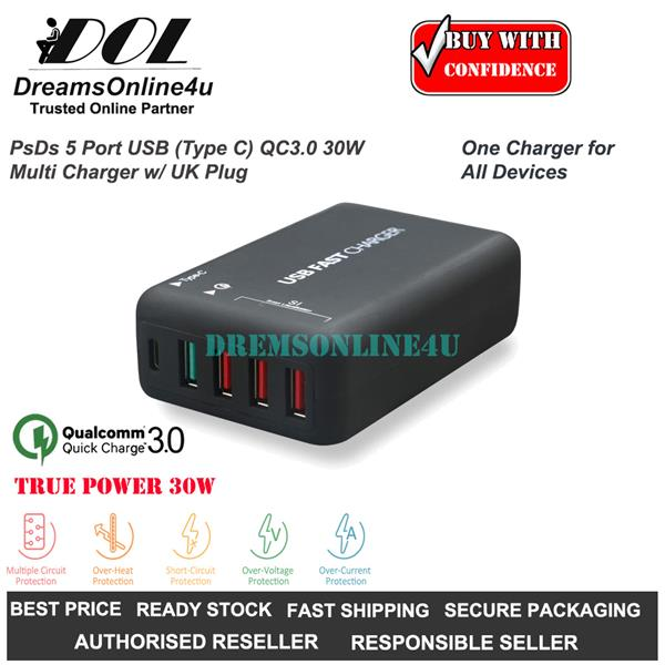 PsDs T2T 5 Port USB Type C Quick Charge 3.0 30 Watts Multi Charger