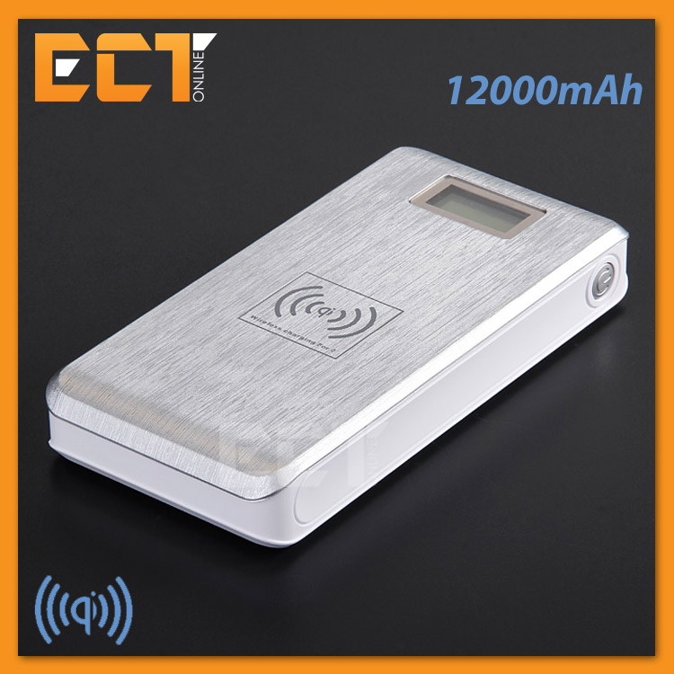 PSI KP-W120 12000mAh Dual USB Qi Wireless Power Bank - Silver