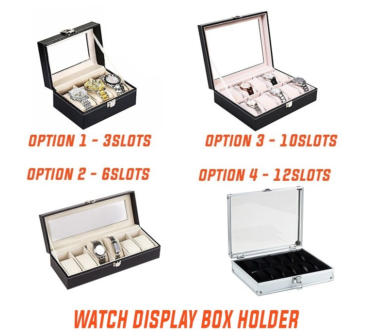 PU Leather 3,6  & 10 Slot/Aluminum 12 Slots Watch Display Storage Box