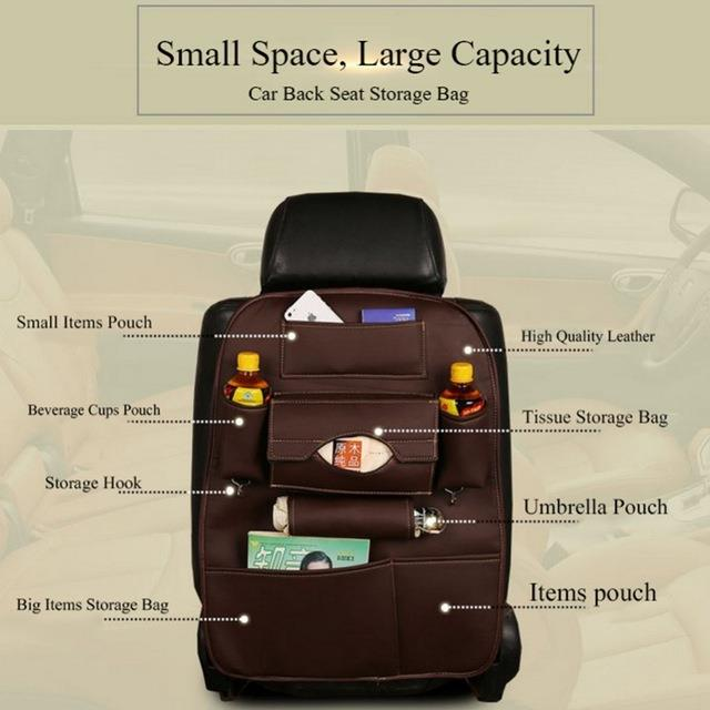 PU Leather Car Seat Back Organizer Multi Function Storage Bag