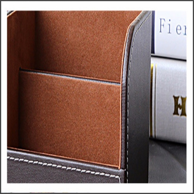 PU Leather Office Desk Stationery Organizer Case Box