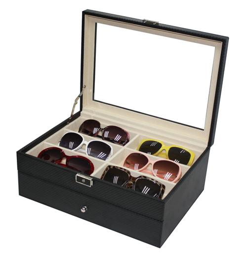 PU Leather Sunglasses / Spectacular Storage Box 12 Slots Carbon Black
