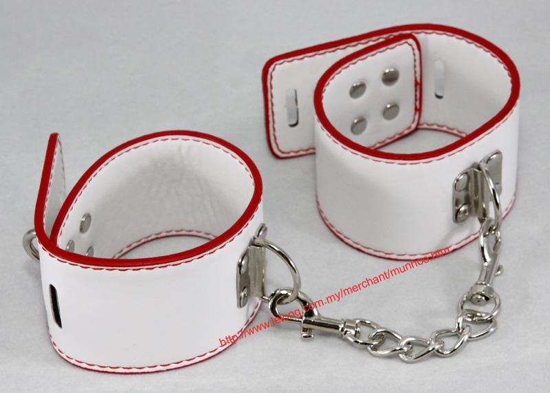 PU Leather White Ankle Leg Strap Buckle Lock Bracelet