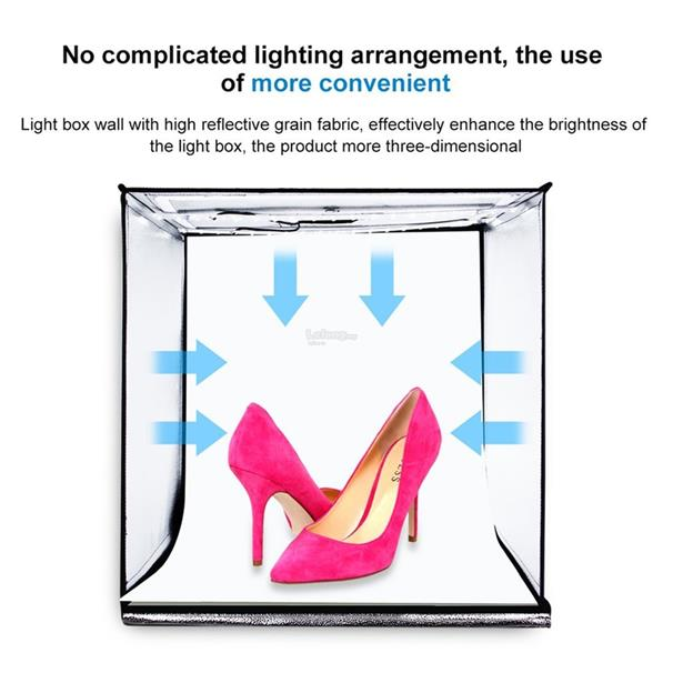 PULUZ 60*60cm 60W LED Light Box Photo Studio Photography Box Foldable