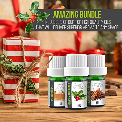 Pumpkin Pie, Happy Holidays and Cinnamon Spice 3-Pack in 5ml Bottles. 100% Pur
