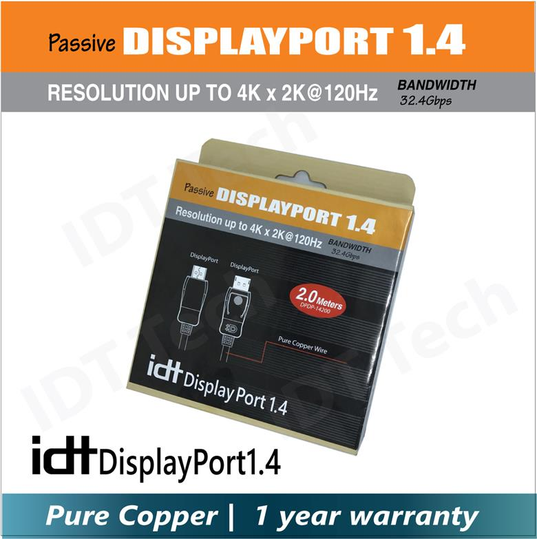 Pure Copper Displayport1.4 Male to Male Cable (2M) Support 4Kx2K@120Hz