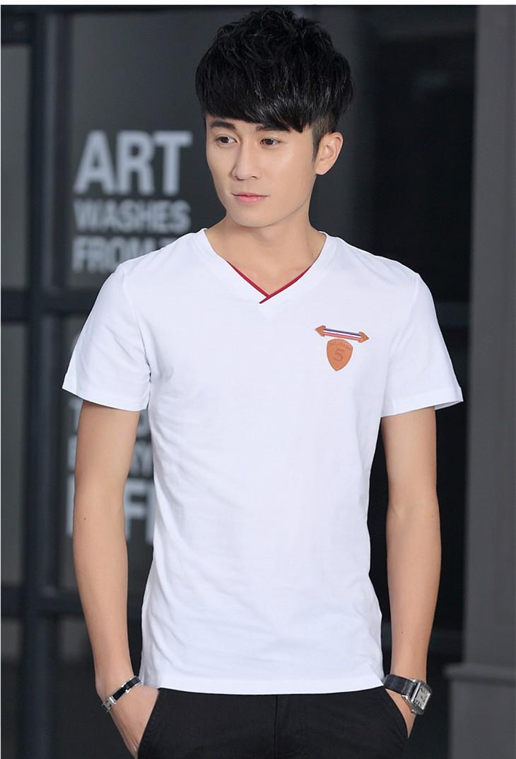 Pure Cotton V Show-slim Men T-shirt (White)
