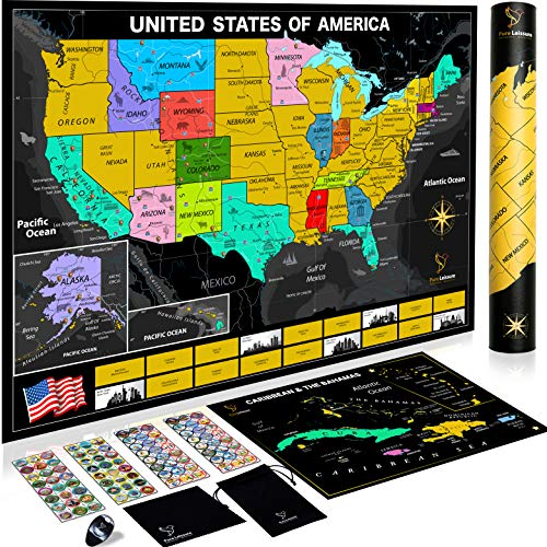 .Pure Leissure Scratch Off Map of The United States - USA National Parks 96  Un