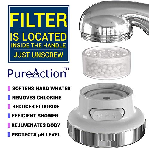 ~ PureAction Luxury Filtered Shower Head with Handheld Hose - Hard Water Softe