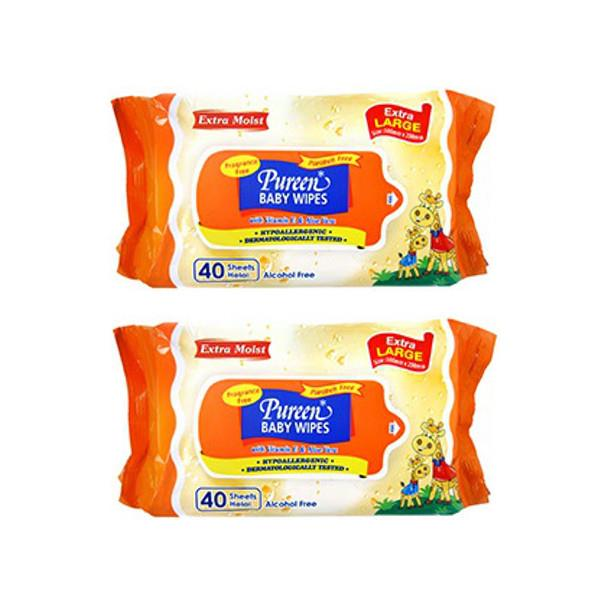 Pureen Baby Wipes Fragrance Free 2X40s (Extra Large)