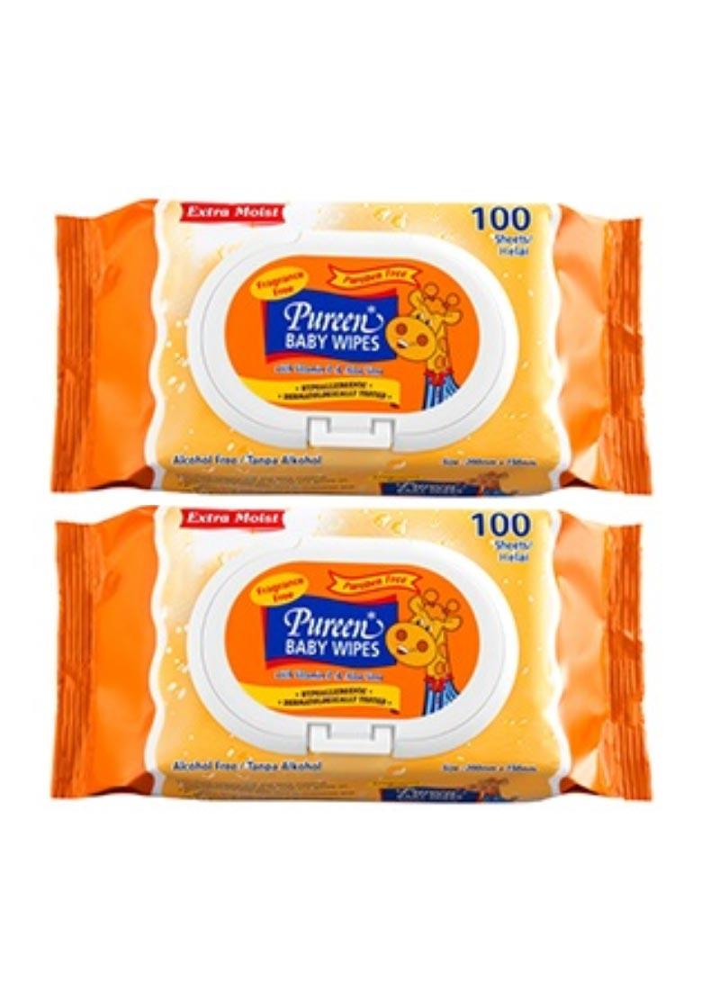 Pureen Baby Wipes - Fragrance Free- VALUE PACK 2X100´S - Orange