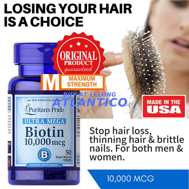 Puritan's Pride, Biotin 10,000 mcg 50 Softgels (10000 mcg Hair)