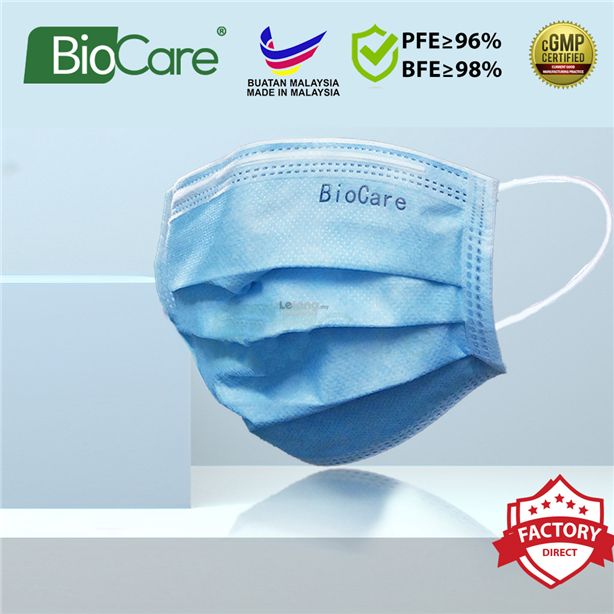 [PURPLE] 50pcs Biocare 3 ply Surgical Face Mask Earloop