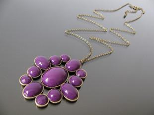 Purple Gemstone exaggerated Design Long Necklace