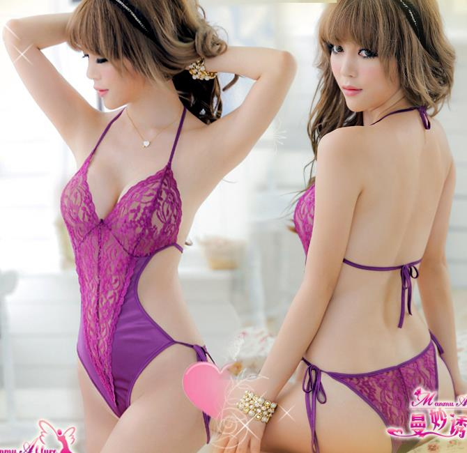Purple Ice Silk Lace Halter Teddies Sleepwear Lingerie