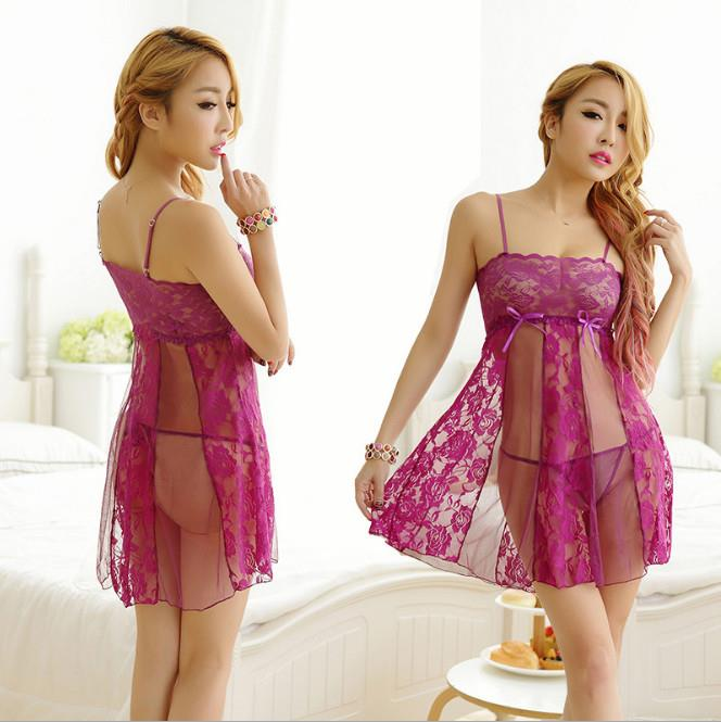 2e293fa33 Purple Lace See Through Babydoll Dress + G-string Lingerie Sleepwear. ‹ ›