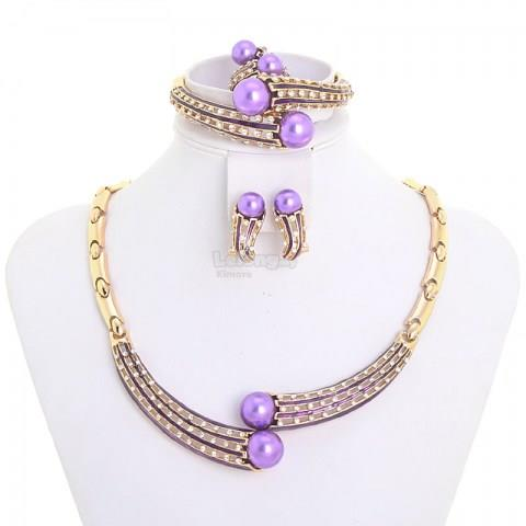 Purple Pearl Wedding Jewelry Set