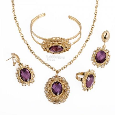 Purple Women's Rhinestone Gold-plated Set