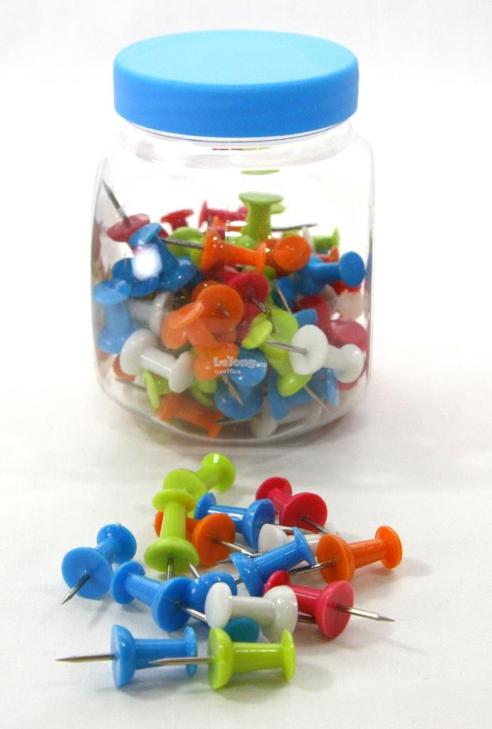 Push Pins Jars 100pcs Assorted Colours
