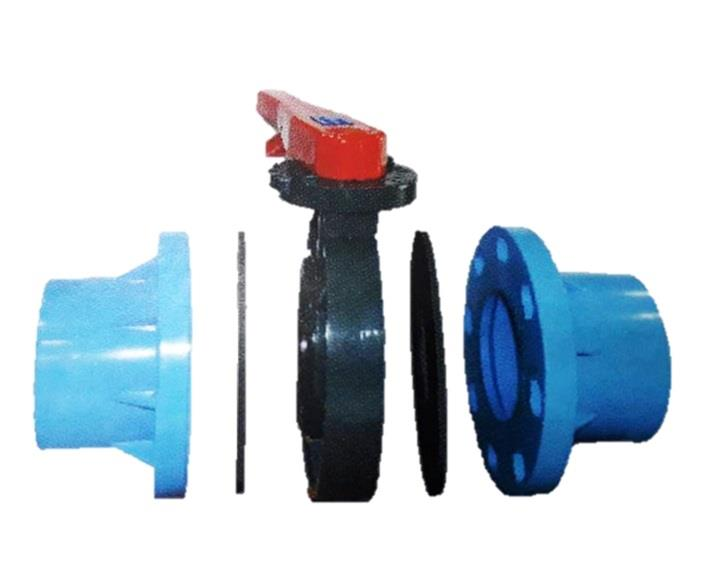 PVC Butterfly Valve Lever Handle, Fitting ( 8inch )