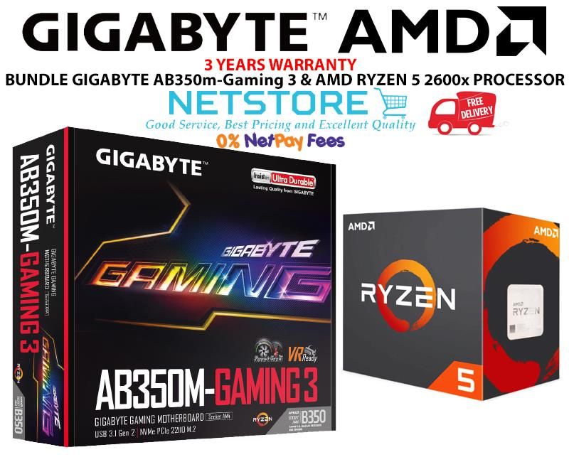 PWP GIGABYTE AB350M-Gaming 3 & AMD RYZEN 5 2600x PROCESSOR