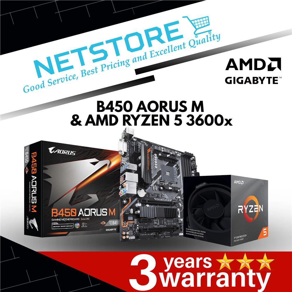 PWP GIGABYTE B450 AORUS M mATX & AMD Ryzen 5 3600X Processor