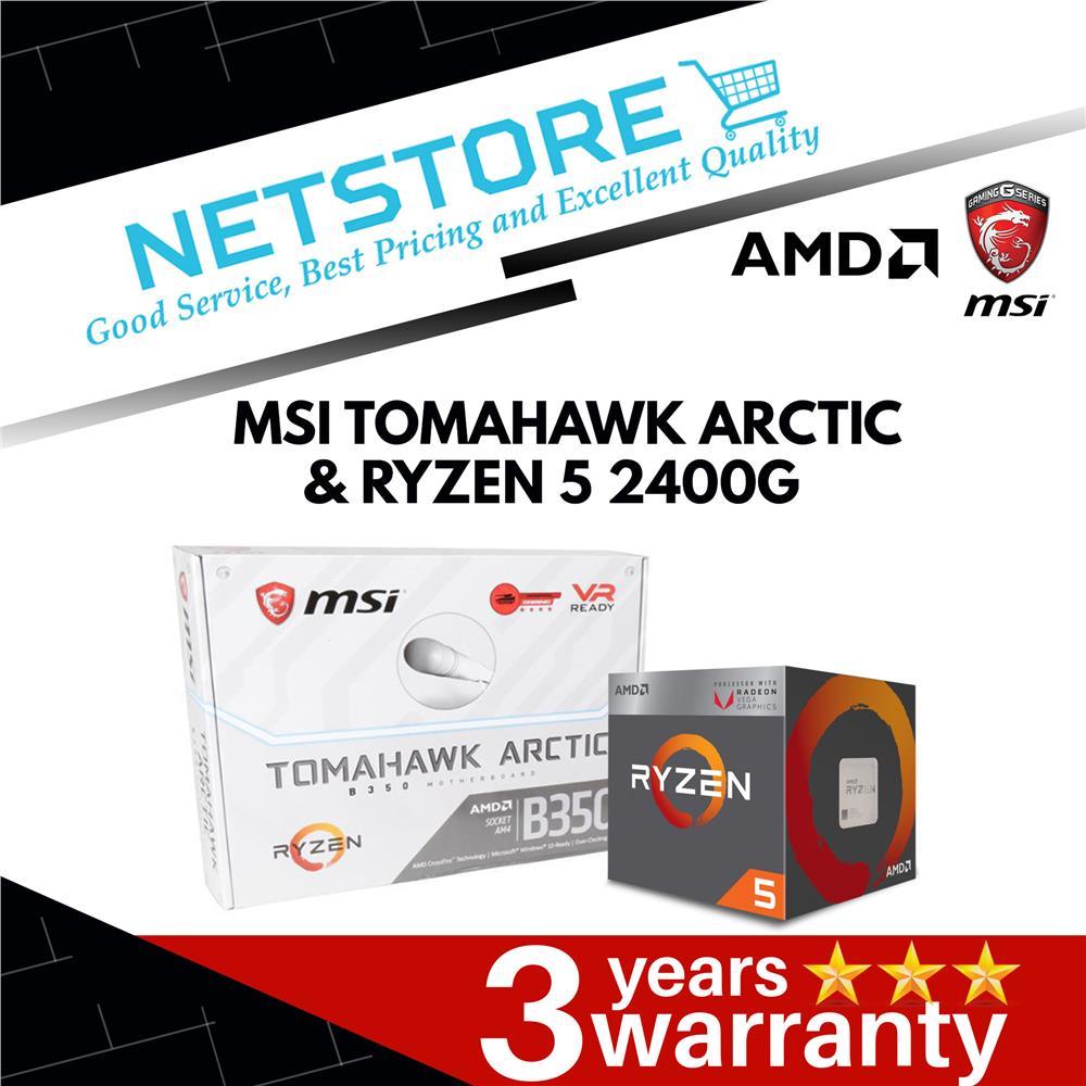 PWP MSI B350M TOMAHAWK ARCTIC & AMD RYZEN 5 2400G APU PROCESSOR
