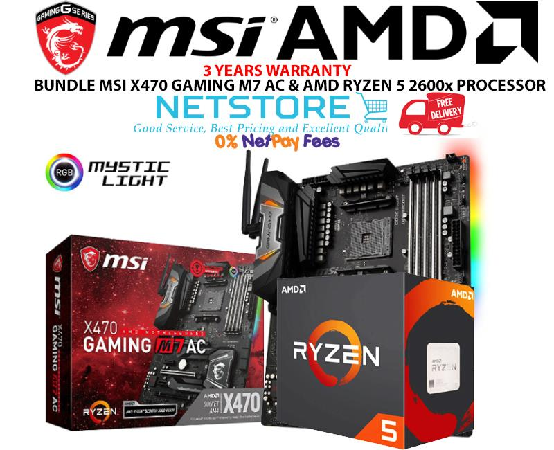 PWP MSI X470 GAMING M7 AC & AMD RYZEN 5 2600x PROCESSOR