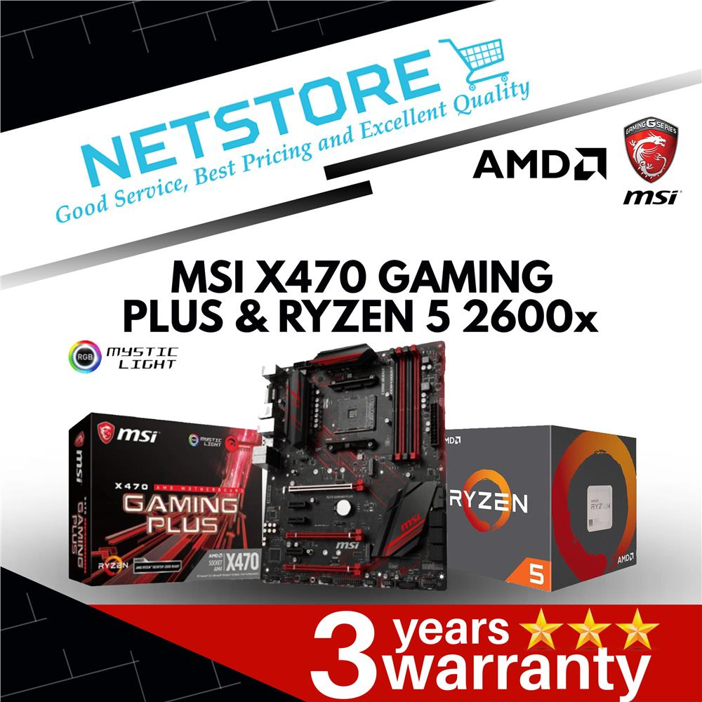 PWP MSI X470 GAMING PLUS & AMD RYZEN 5 2600x PROCESSOR