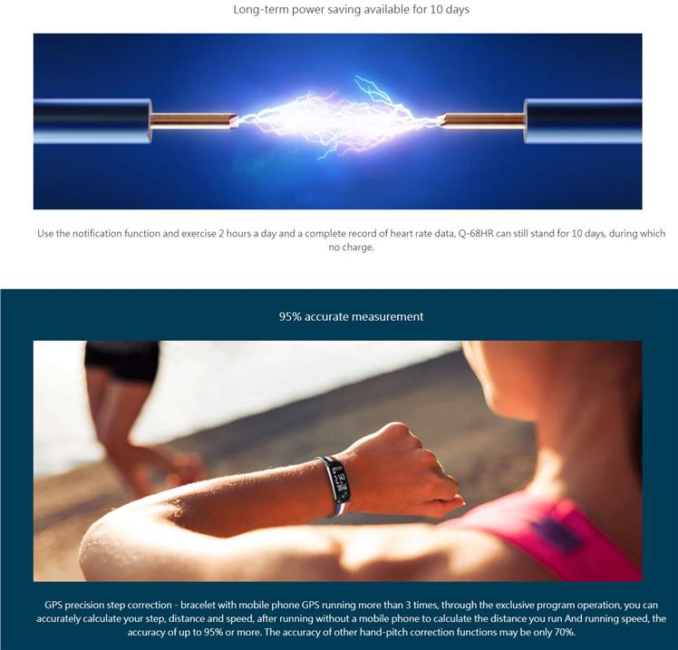 Q-BAND HR+ HEART RATE SMART FITNESS BAND (Q-68HR)