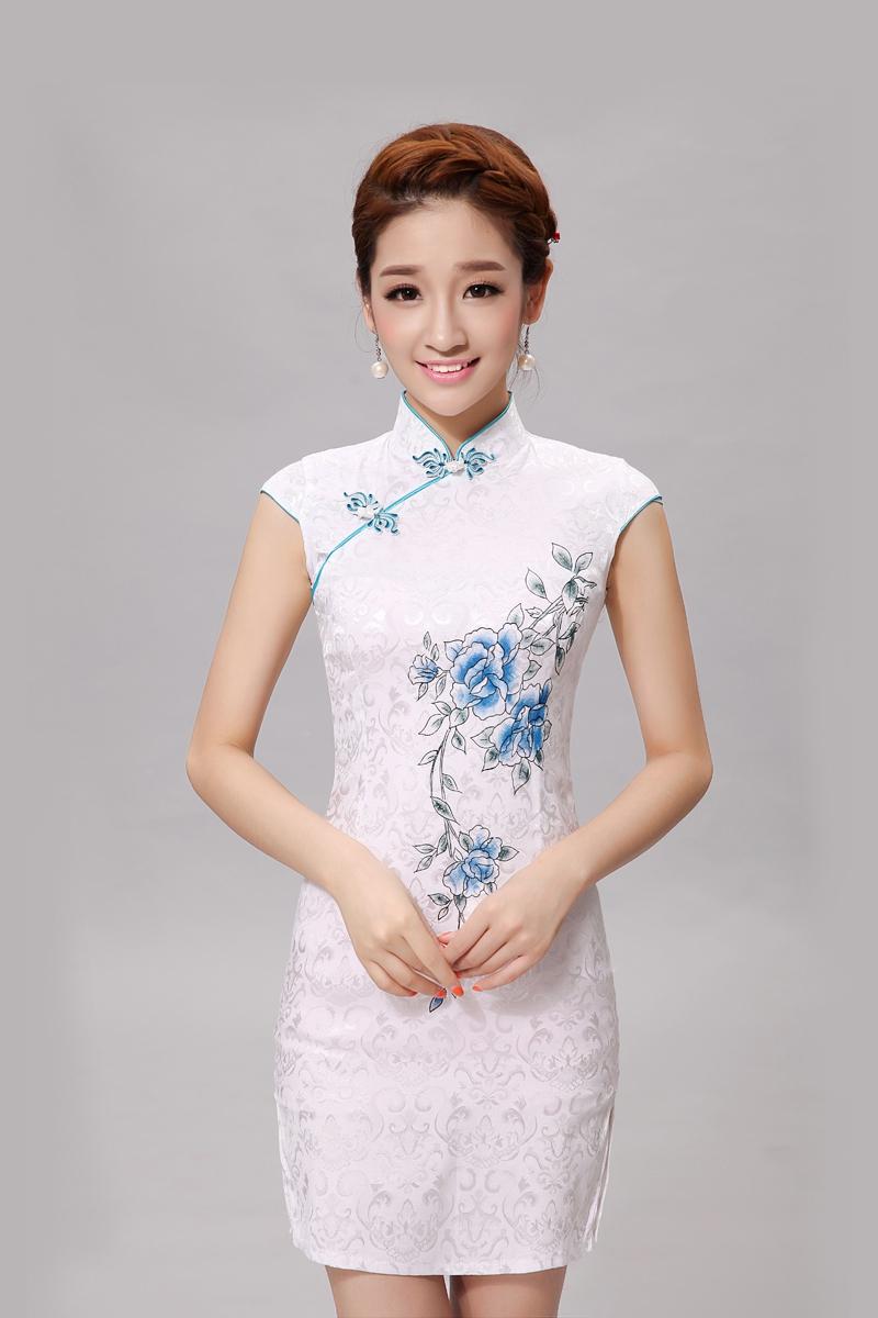 White Cheongsam Dress