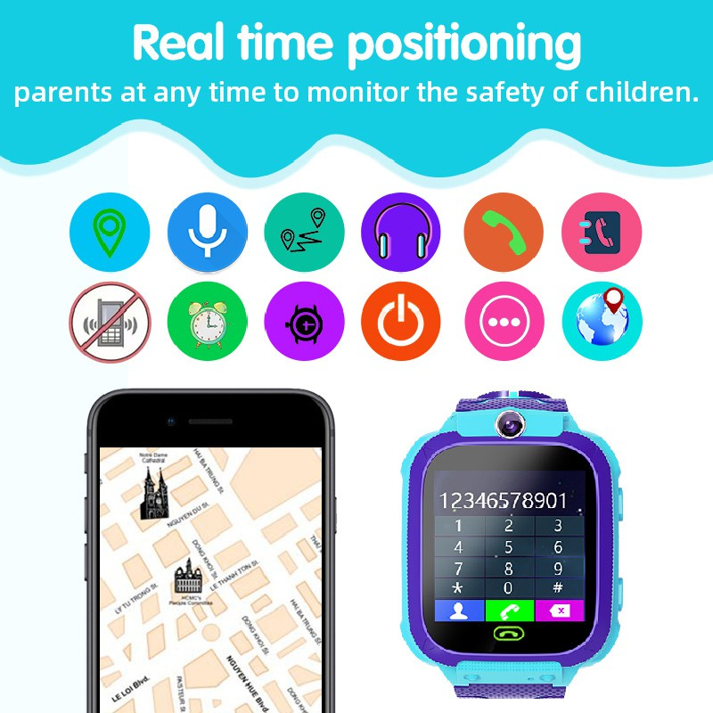 Q12 Kids Smart Watch Accurate Location Position Cam - [Q12 PRO (BLUE)]