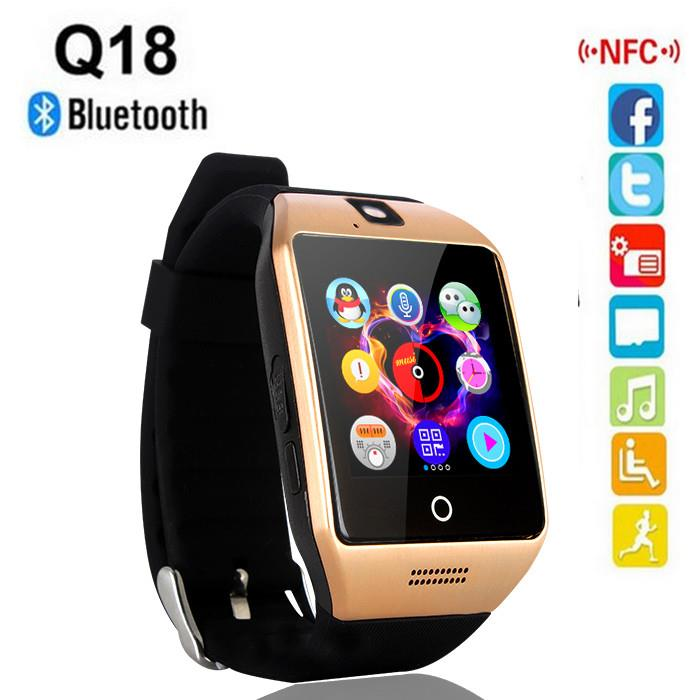 Q18 Camera Bluetooth Arc Display Screen Smart Watch Support Sim TFCard
