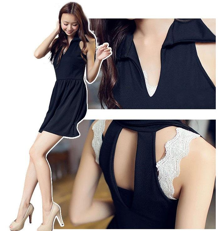 Q6301 Fashion Sleeveless V-Neck Halter Dress