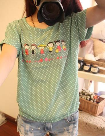 Q6843 Fashion Chiffon Cartoon Short Sleeve T Shirt