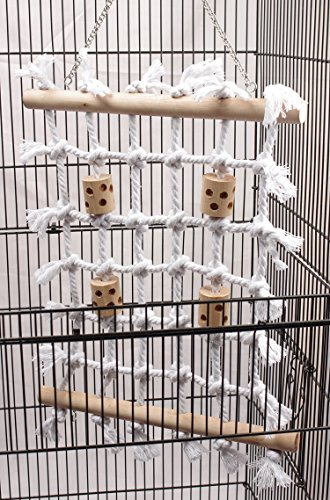 QBLEEV Parrot Climbing Net Cotton Rope Bird Cage Wood Hemp Rope Ladder Toy Pla
