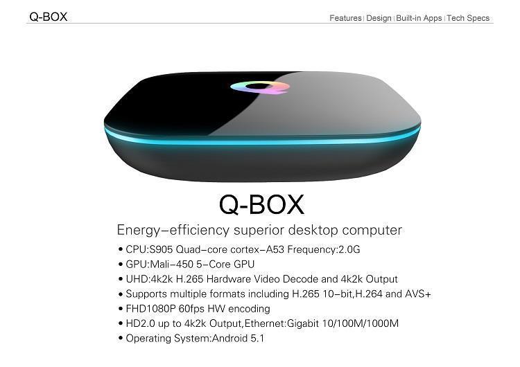 qbox android tv box / LED light / 16gb / 2gb ram
