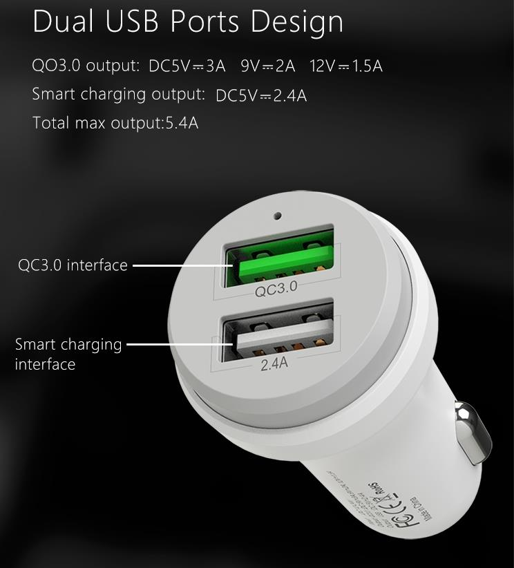 (QC 3.0+ 2.4A) Authentic MCDODO CC-384 Fast Quick Dual USB Car Charger