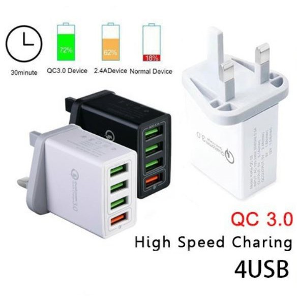 QC 3.0 4 Port USB 30W Quick Charge Hub Wall Charger Adapter UK Plug