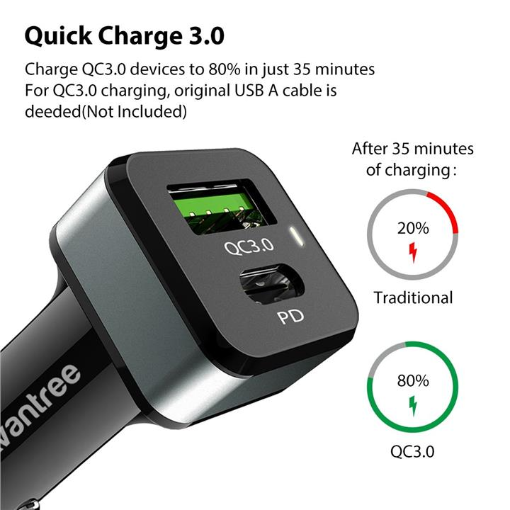 (QC 3.0) AVANTREE TR410 42W PD Type C USB Car Charger ASUS ROG Phone