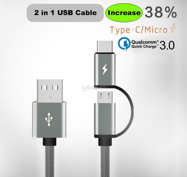 QC3.0 2.0 Android 2 in 1 charging cable TYPE-C & Micro Usb