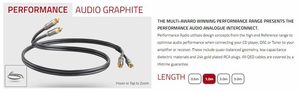 QED Performance Audio Graphite Interconnects - 1.0 Meters
