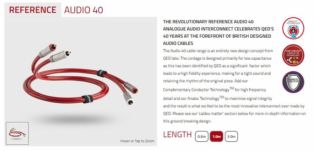 QED Reference Audio 40 RCA Interconnects - 1.0 Meters