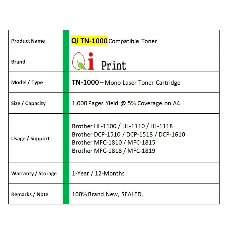 Qi Print Brother TN1000 1110 HL1100 1110 Toner Compatible * SEALED *