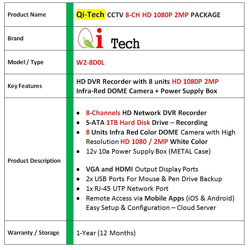 Qi Tech CCTV 8-CH HD DVR Recorder with Infra Red Dome Camera (W1-8D0L)