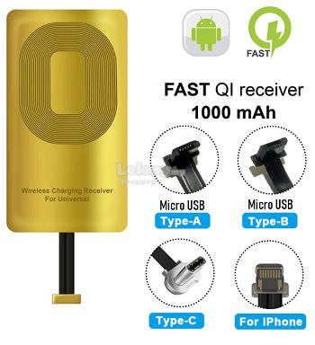 Qi Wireless Charger Receiver Type C Micro USB Lightning Android IOS